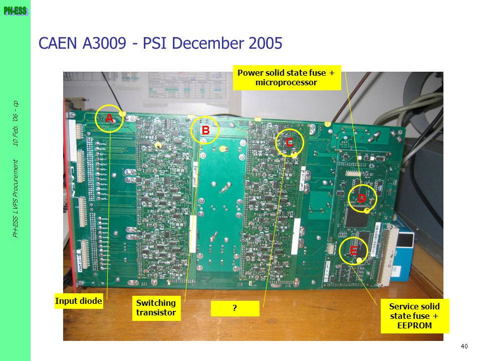 CAEN A3009 - PSI December 2005 A B C D E