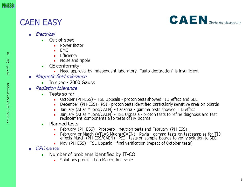 CAEN EASY Electrical Out of spec CE conformity