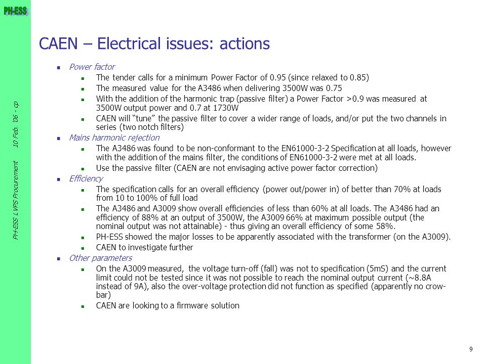 CAEN – Electrical issues: actions
