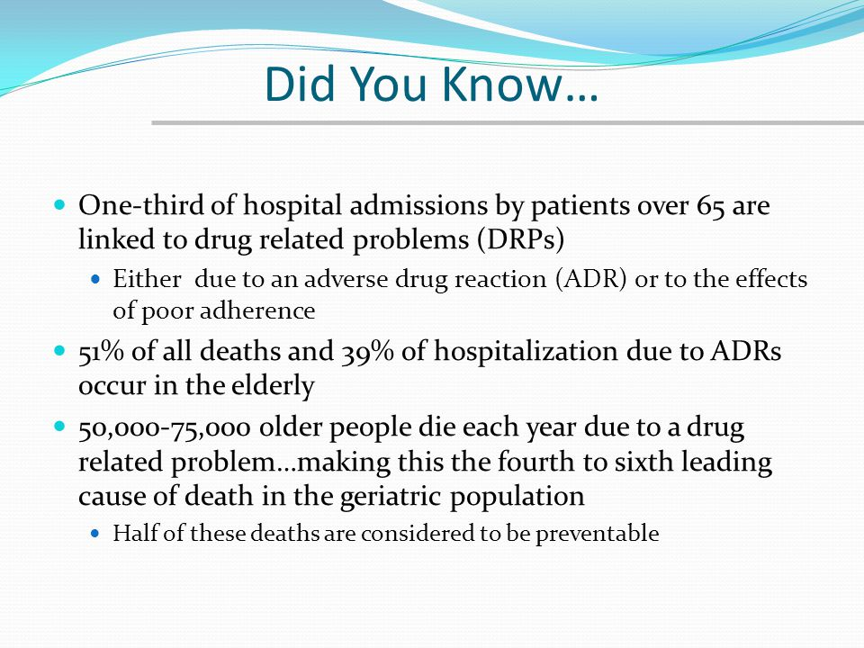 Did You Know… One-third of hospital admissions by patients over 65 are linked to drug related problems (DRPs)