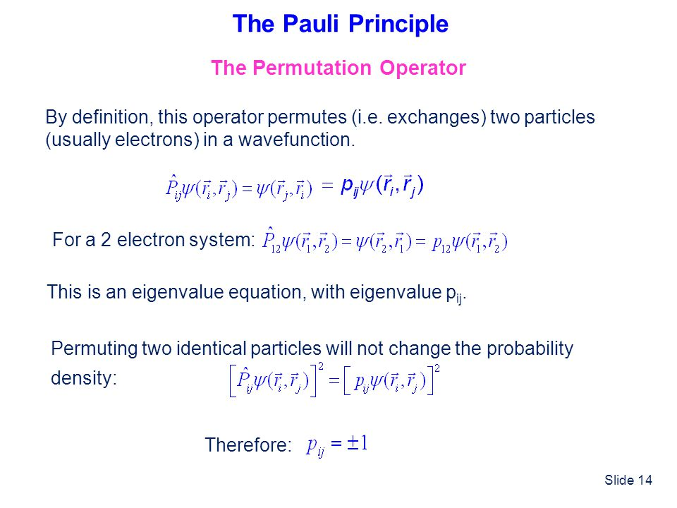 The Pauli Principle The Permutation Operator