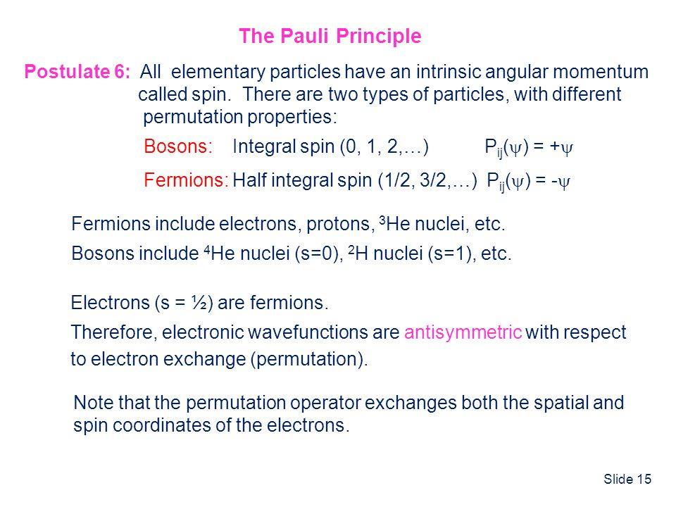 The Pauli Principle Postulate 6: All elementary particles have an intrinsic angular momentum.