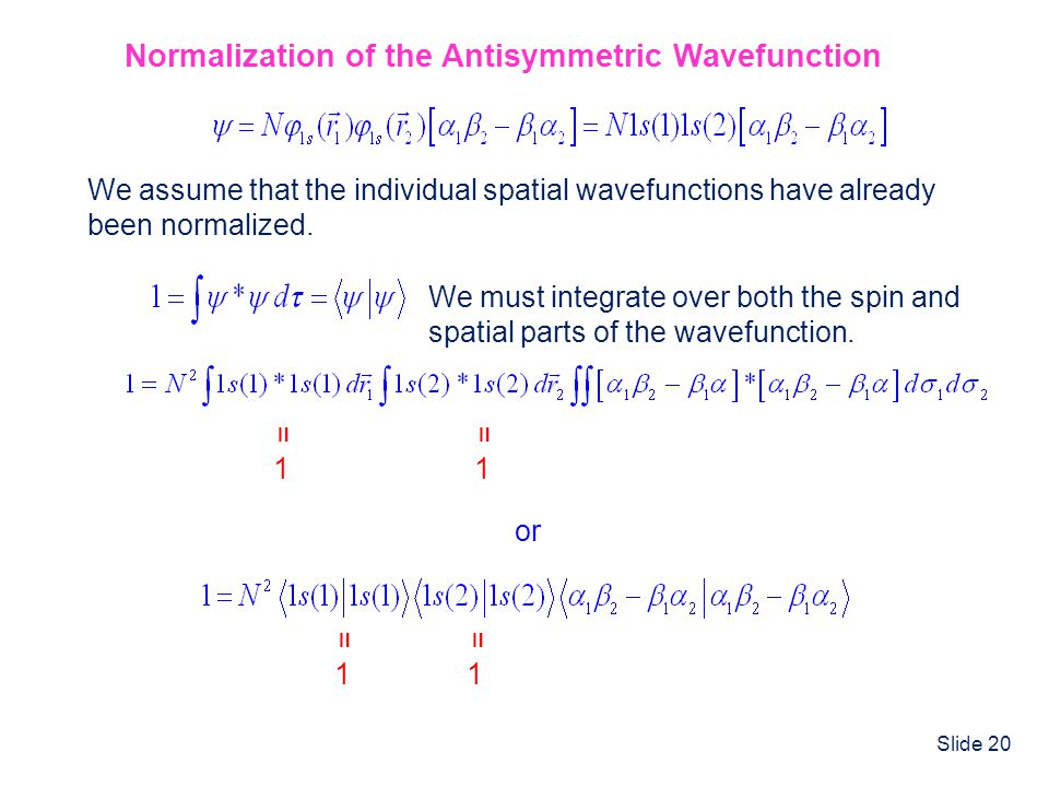 Normalization of the Antisymmetric Wavefunction