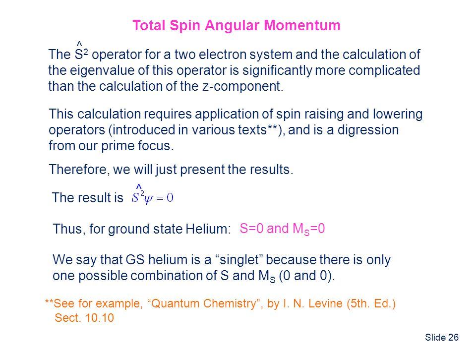 Total Spin Angular Momentum