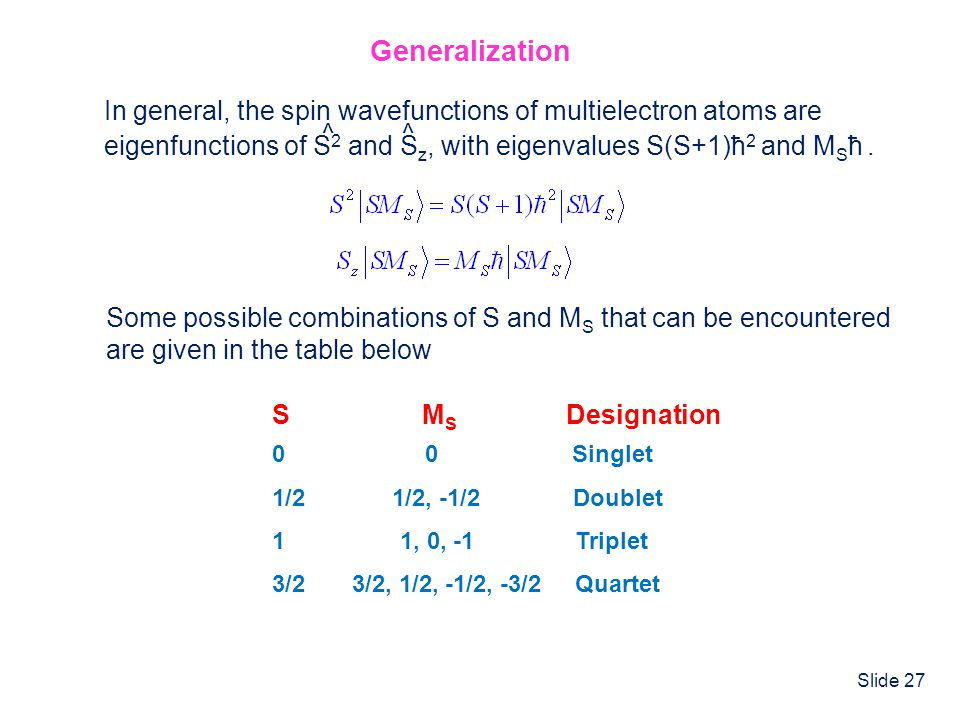 Generalization In general, the spin wavefunctions of multielectron atoms are. eigenfunctions of S2 and Sz, with eigenvalues S(S+1)ħ2 and MSħ .