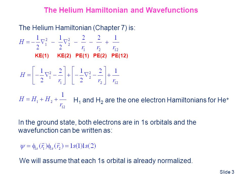 The Helium Hamiltonian and Wavefunctions