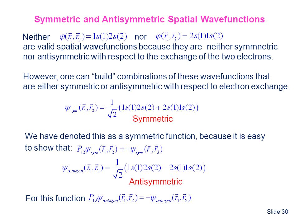 Symmetric and Antisymmetric Spatial Wavefunctions
