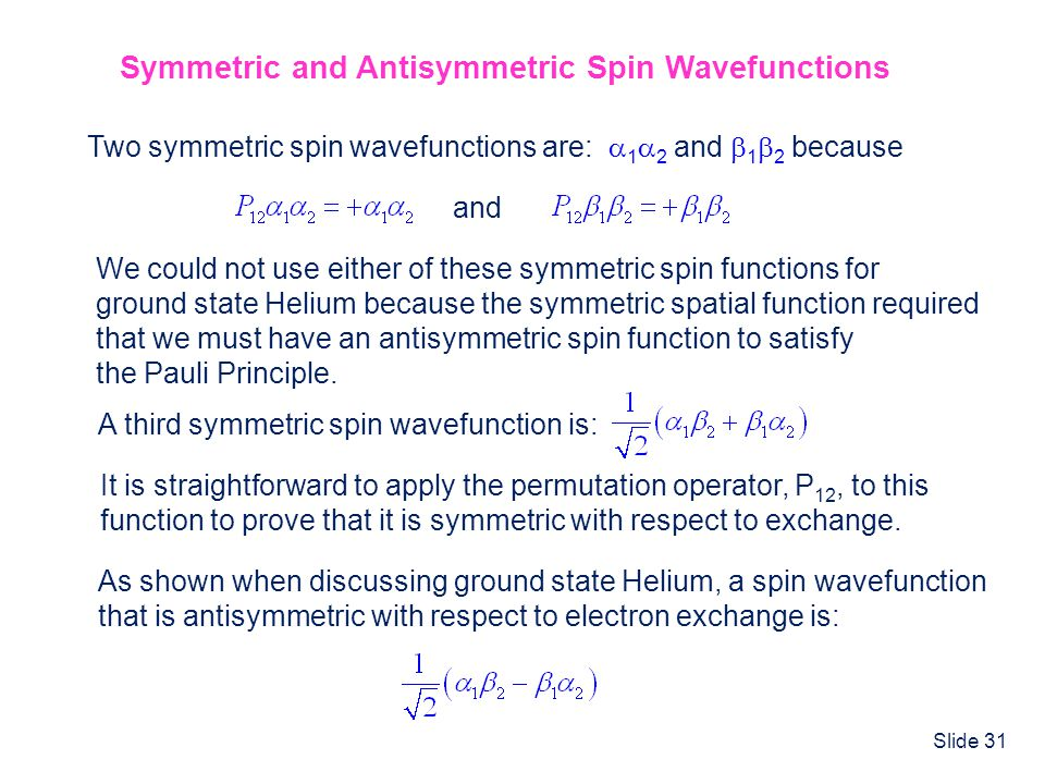 Symmetric and Antisymmetric Spin Wavefunctions