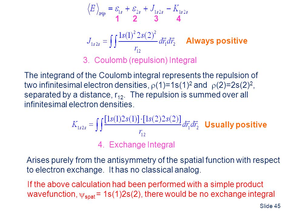 1 2. 3. 4. Always positive. 3. Coulomb (repulsion) Integral. The integrand of the Coulomb integral represents the repulsion of.