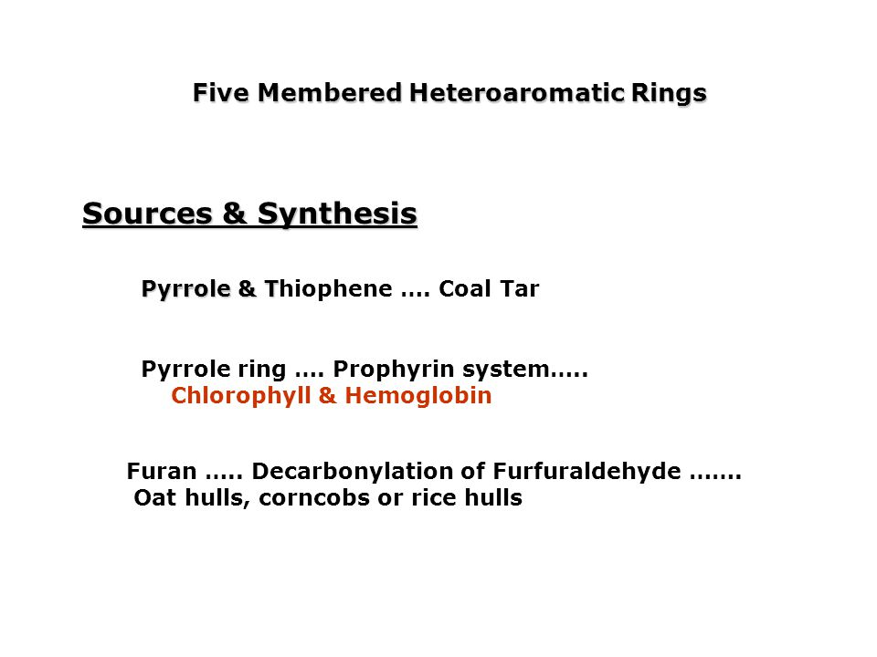 Sources & Synthesis Five Membered Heteroaromatic Rings