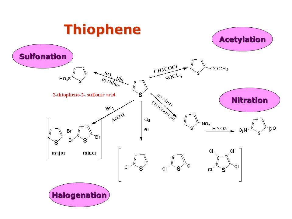 Thiophene Acetylation Sulfonation Nitration Halogenation