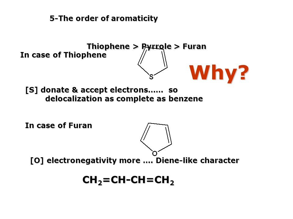Why 5-The order of aromaticity Thiophene > Pyrrole > Furan