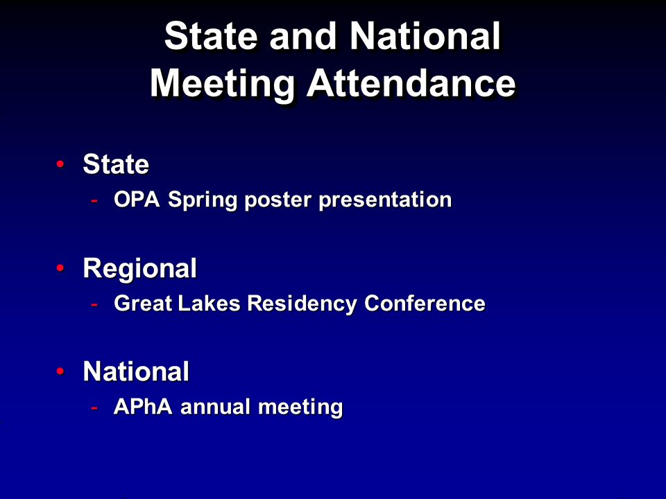 State and National Meeting Attendance