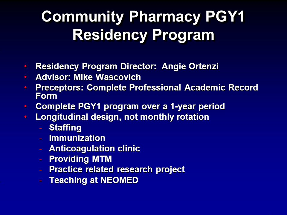 Community Pharmacy PGY1 Residency Program