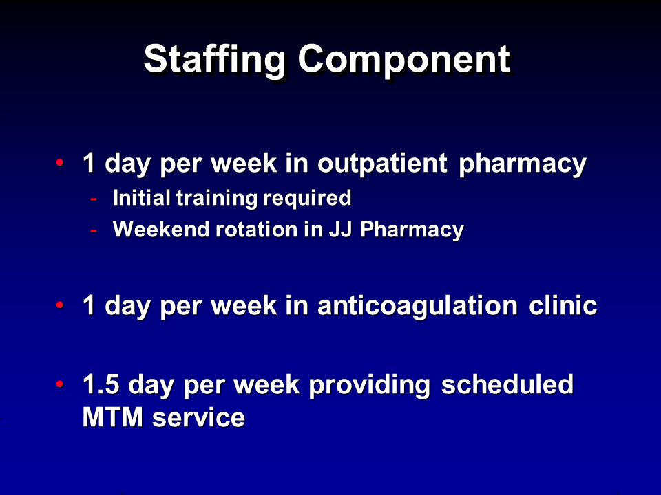 Staffing Component 1 day per week in outpatient pharmacy