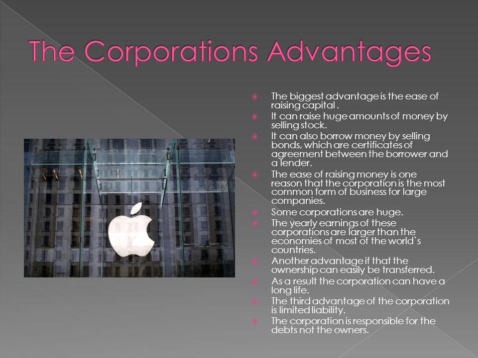 The Corporations Advantages