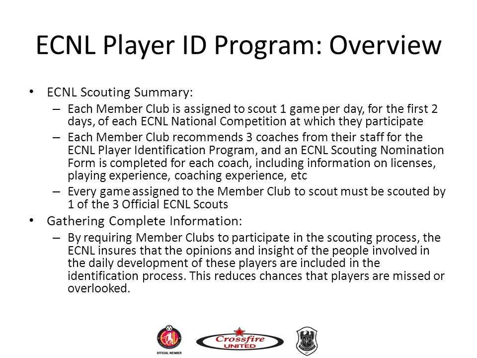 ECNL Player ID Program: Overview