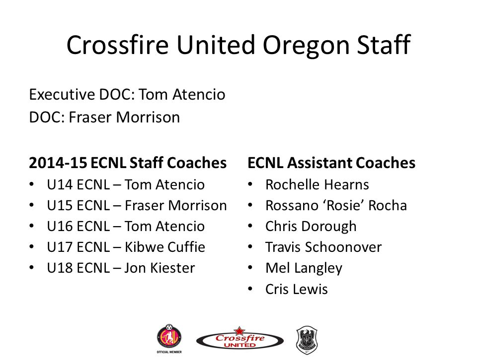 Crossfire United Oregon Staff