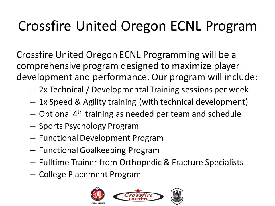 Crossfire United Oregon ECNL Program