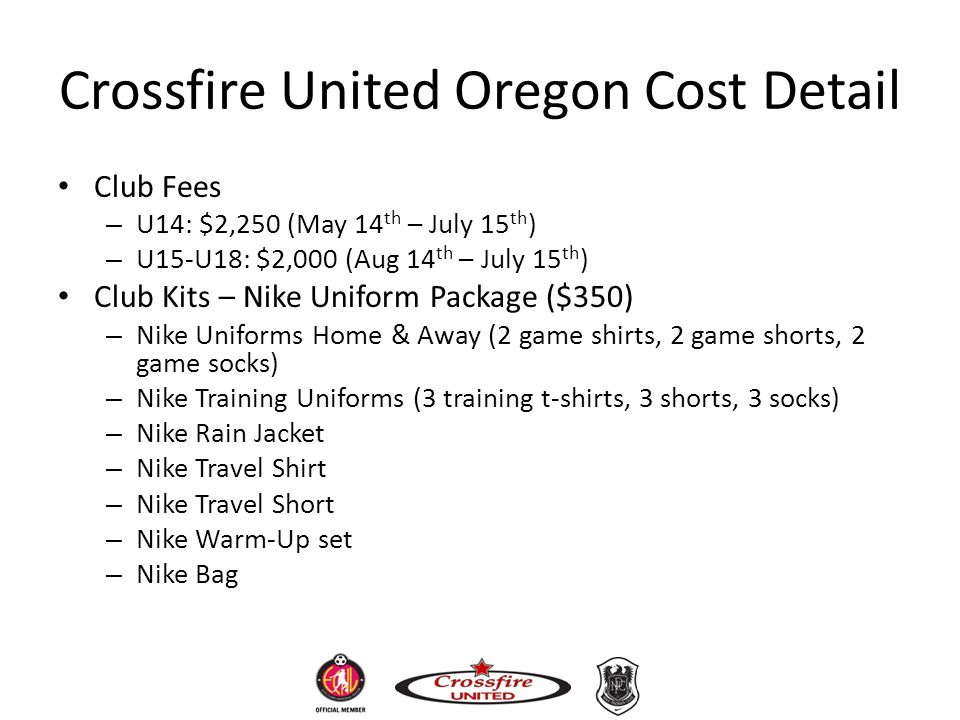 Crossfire United Oregon Cost Detail