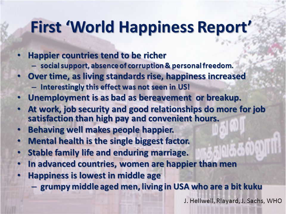 First 'World Happiness Report'