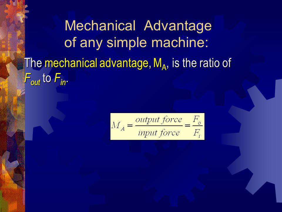 Mechanical Advantage of any simple machine:
