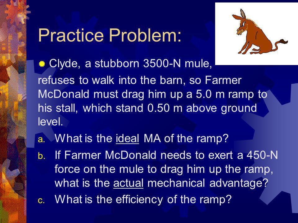 Practice Problem: Clyde, a stubborn 3500-N mule,