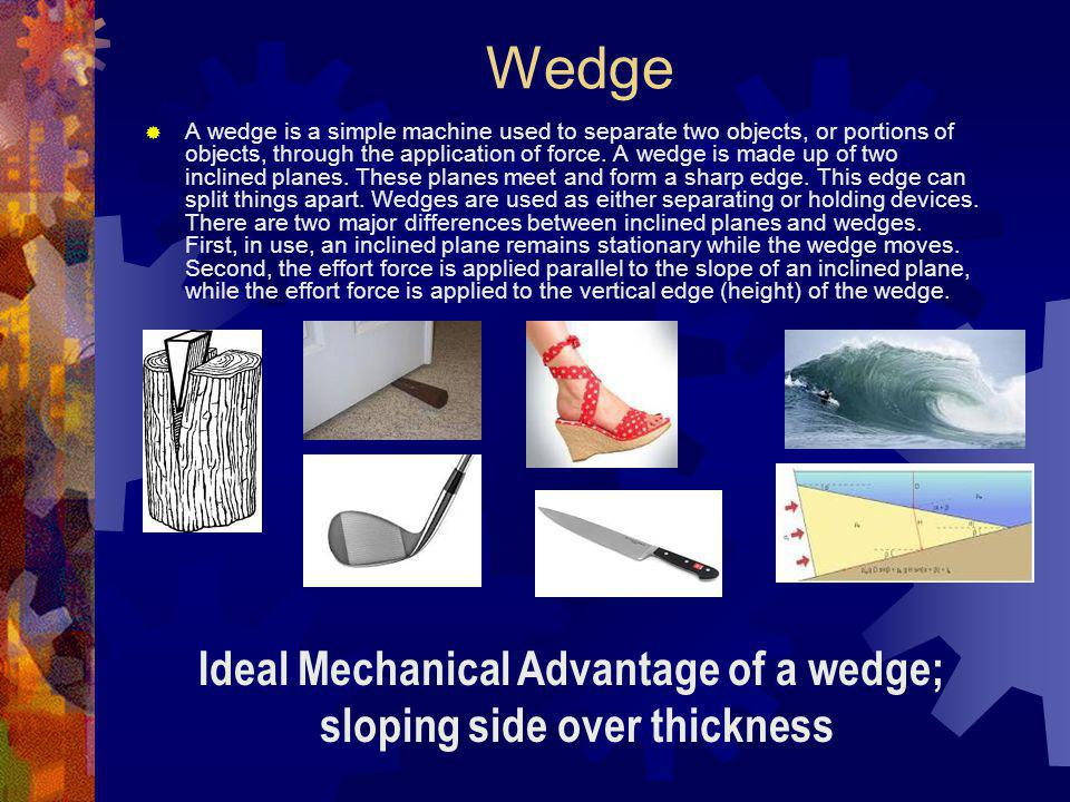 Ideal Mechanical Advantage of a wedge; sloping side over thickness