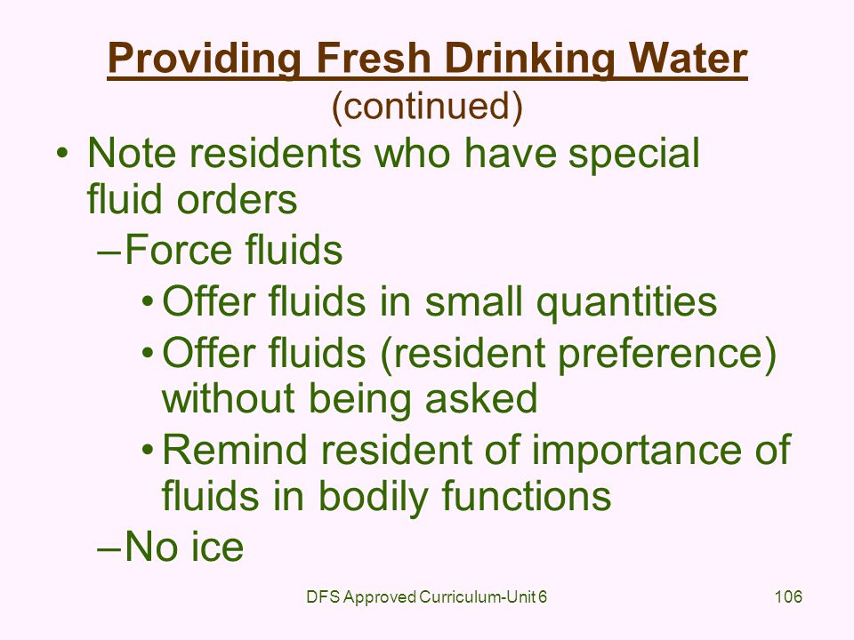 Providing Fresh Drinking Water (continued)