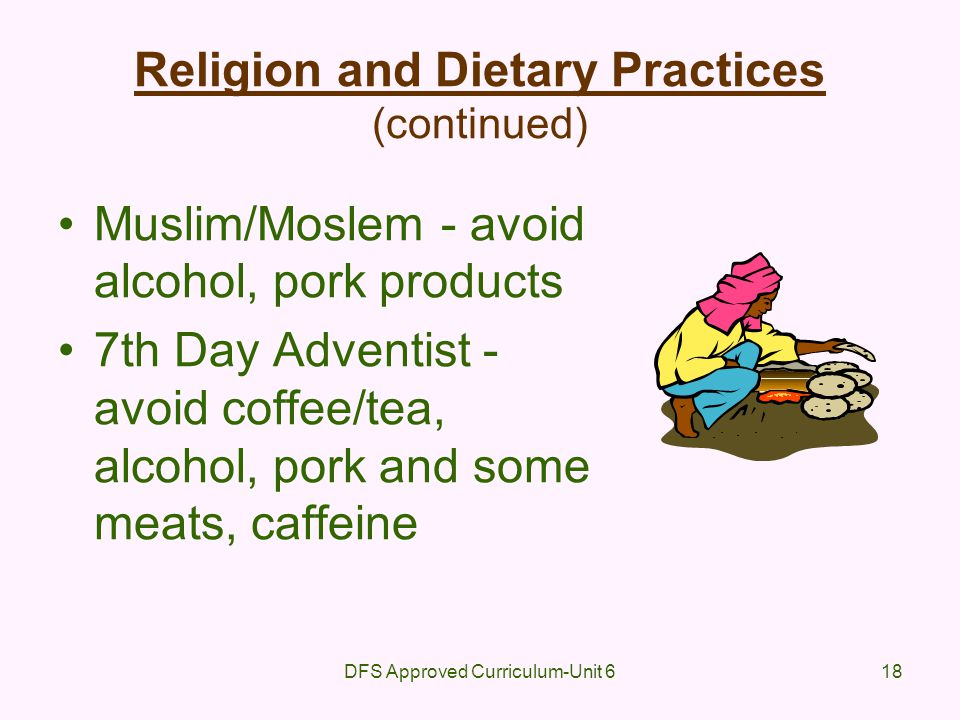 Religion and Dietary Practices (continued)