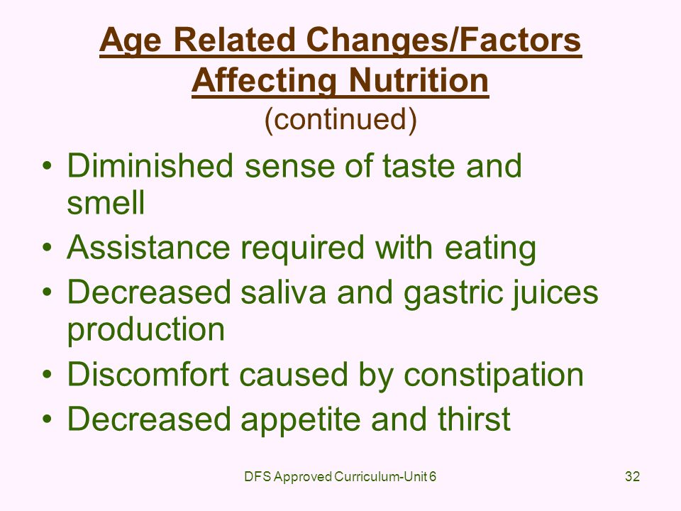 Age Related Changes/Factors Affecting Nutrition (continued)