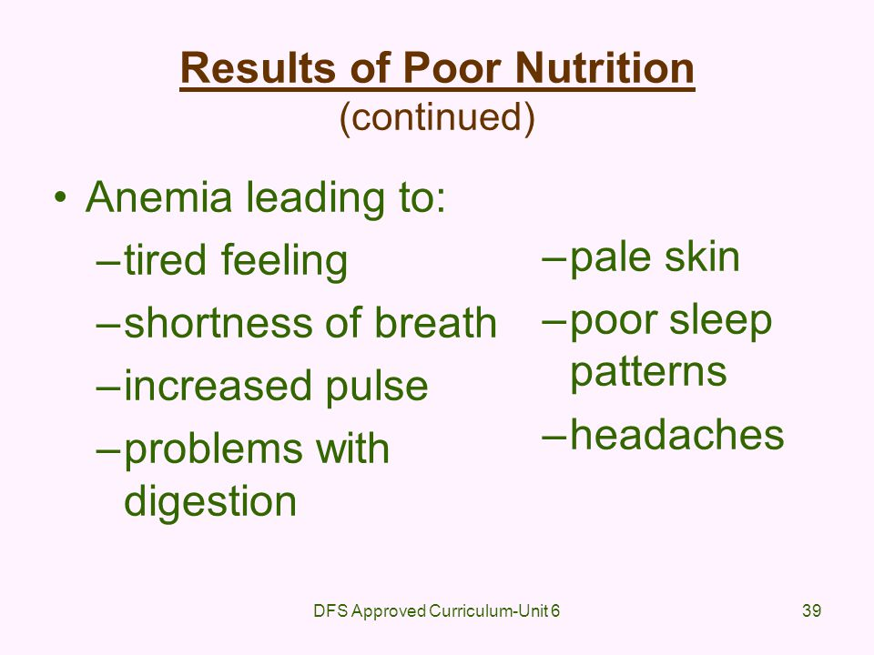 Results of Poor Nutrition (continued)