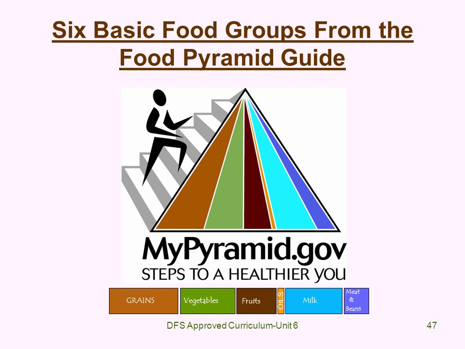 Six Basic Food Groups From the Food Pyramid Guide