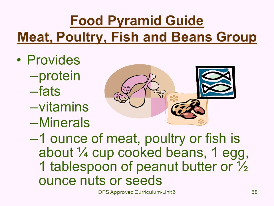 Food Pyramid Guide Meat, Poultry, Fish and Beans Group