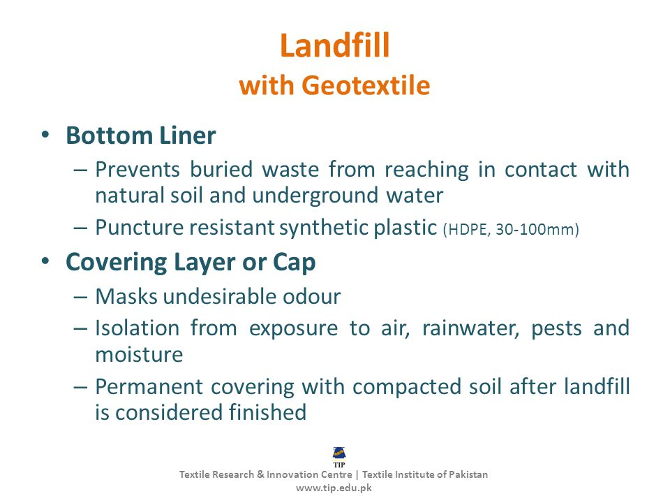 Landfill with Geotextile
