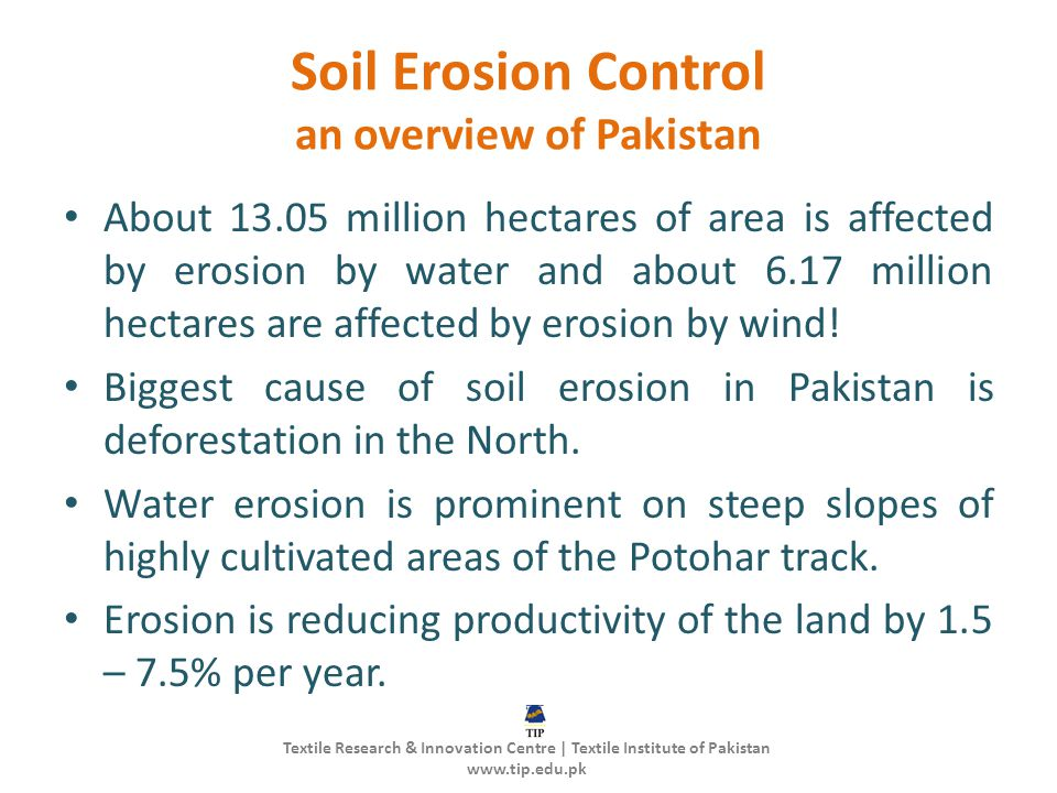 Soil Erosion Control an overview of Pakistan