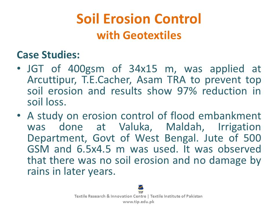 Soil Erosion Control with Geotextiles