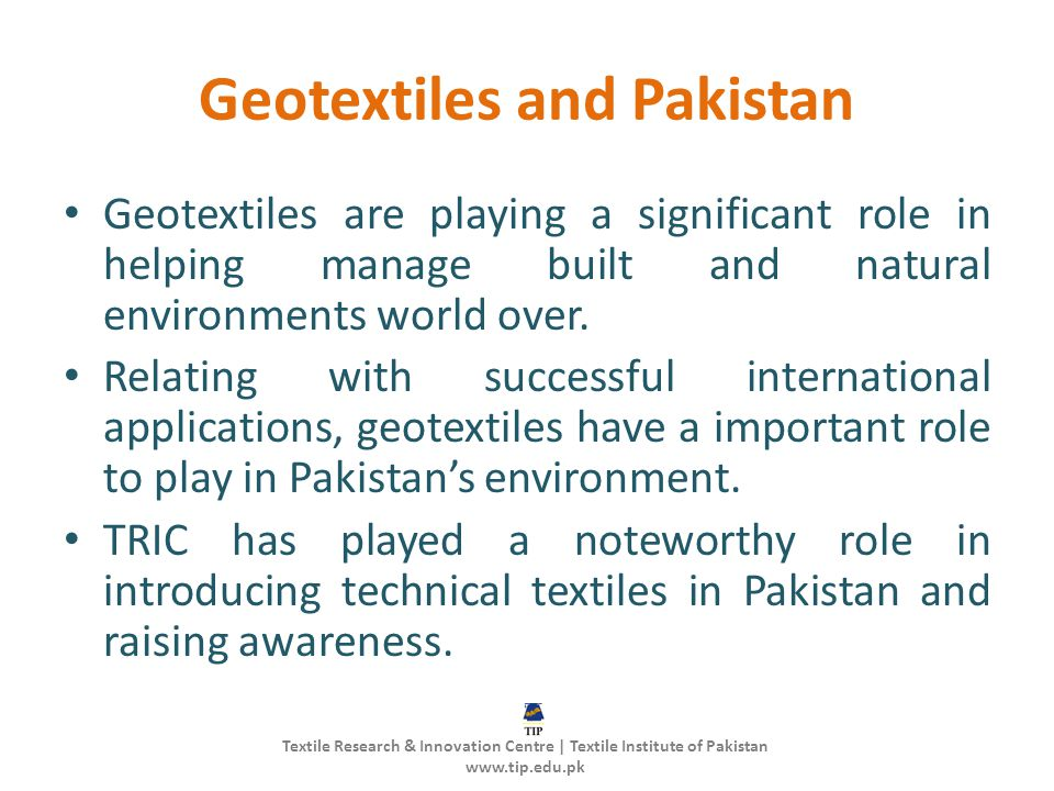 Geotextiles and Pakistan