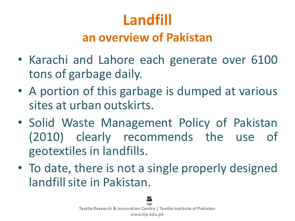 Landfill an overview of Pakistan
