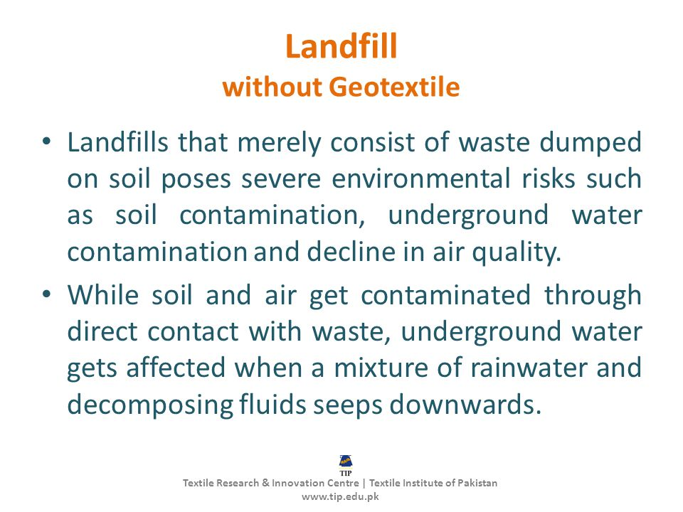 Landfill without Geotextile