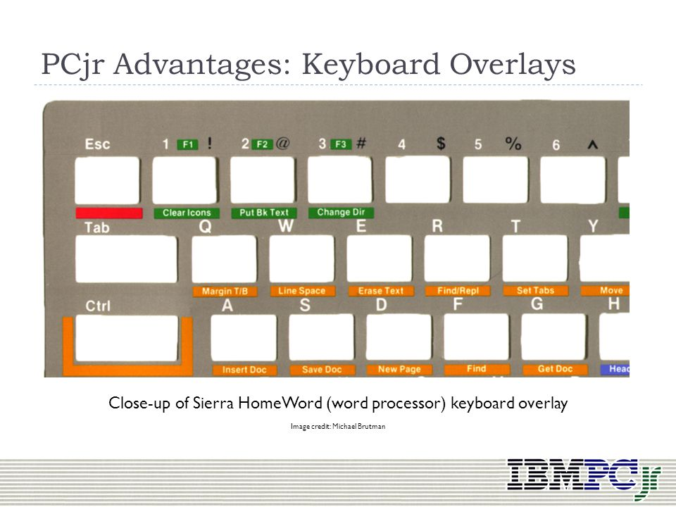 PCjr Advantages: Keyboard Overlays