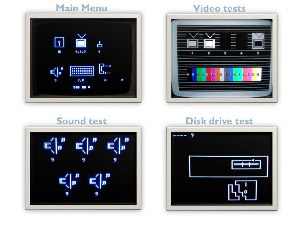 Main Menu Video tests Sound test Disk drive test