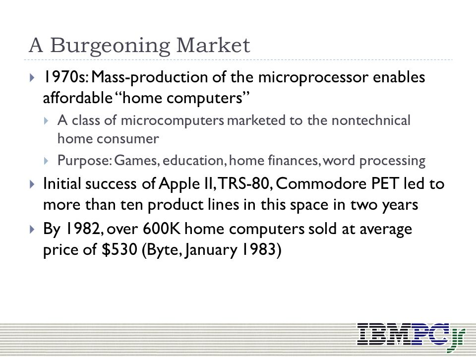 A Burgeoning Market 1970s: Mass-production of the microprocessor enables affordable home computers