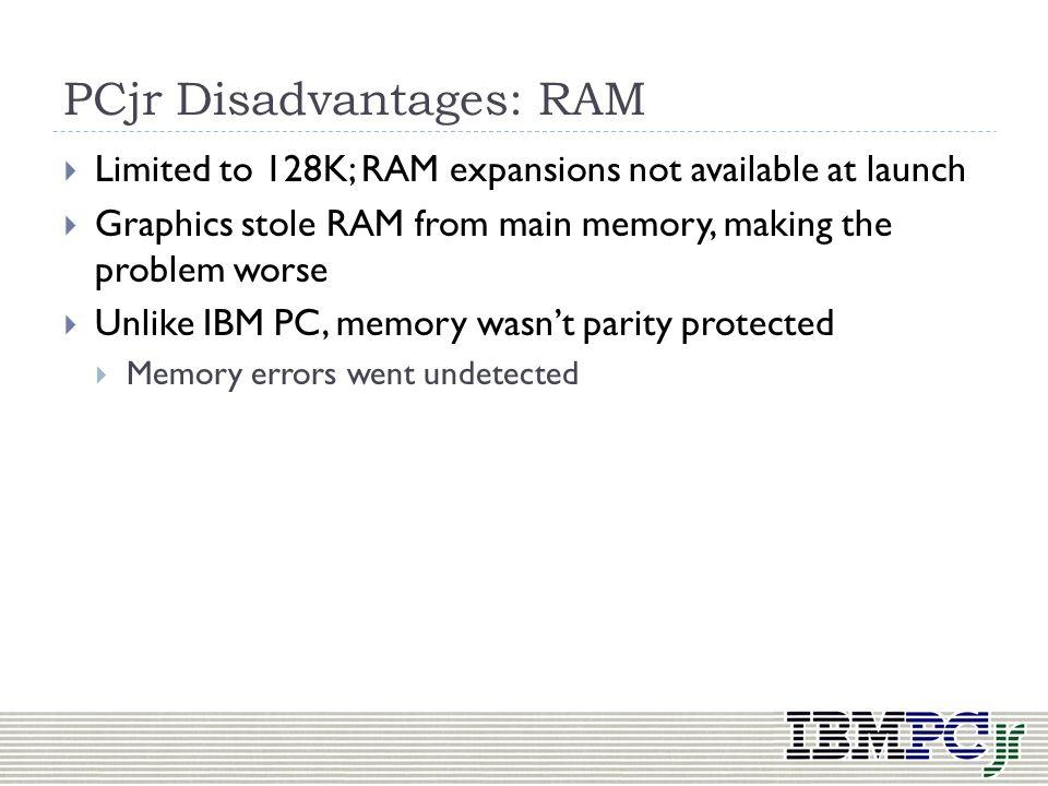 PCjr Disadvantages: RAM