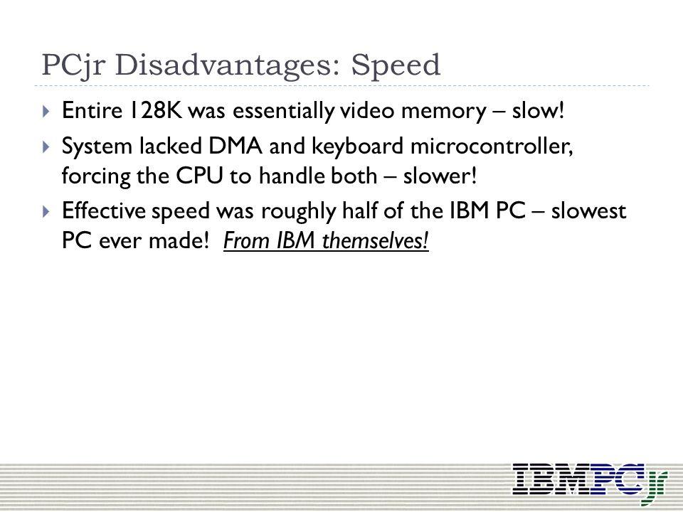 PCjr Disadvantages: Speed
