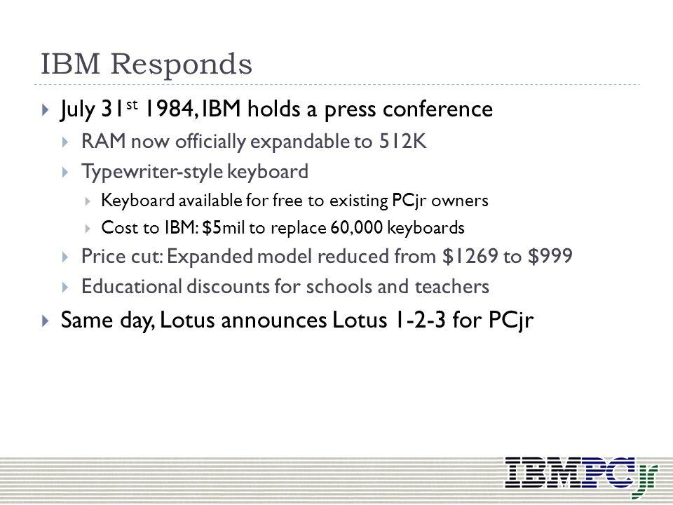 IBM Responds July 31st 1984, IBM holds a press conference