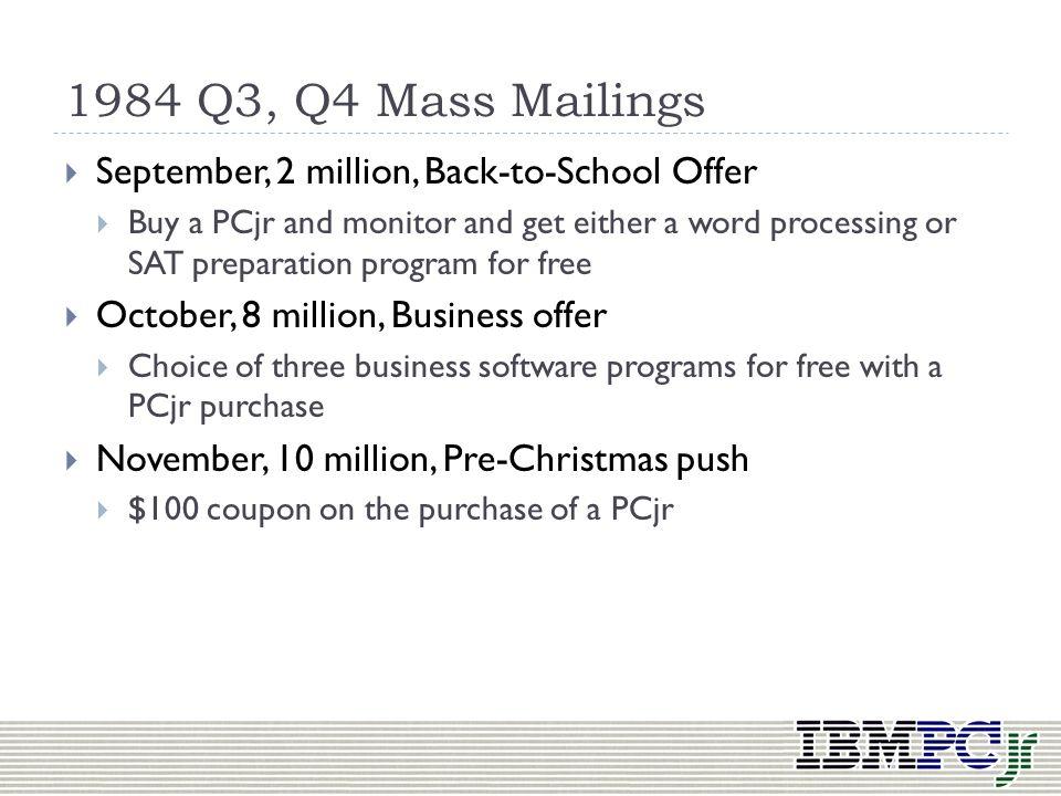 1984 Q3, Q4 Mass Mailings September, 2 million, Back-to-School Offer