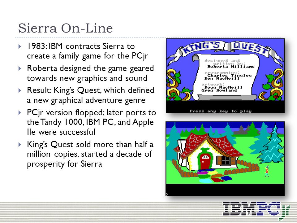 Sierra On-Line 1983: IBM contracts Sierra to create a family game for the PCjr. Roberta designed the game geared towards new graphics and sound.