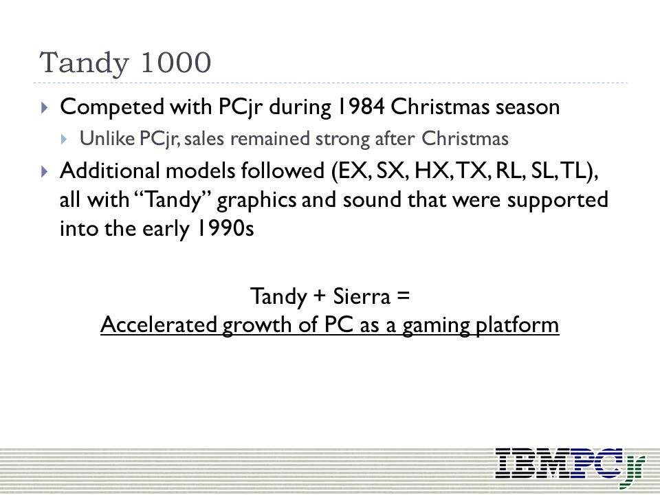 Tandy + Sierra = Accelerated growth of PC as a gaming platform