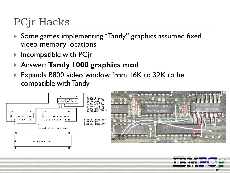 PCjr Hacks Some games implementing Tandy graphics assumed fixed video memory locations. Incompatible with PCjr.